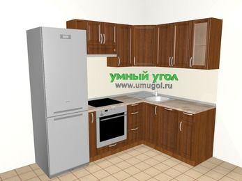 Угловая кухня из массива дерева 5,7 м², 2300 на 1600 мм, Темно-коричневые оттенки: верхние модули 720 мм, холодильник, корзина-бутылочница, встроенный духовой шкаф, посудомоечная машина