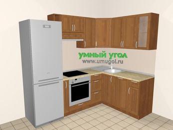 Угловая кухня из рамочного МДФ 5,7 м², 2300 на 1600 мм, Орех: верхние модули 720 мм, холодильник, корзина-бутылочница, встроенный духовой шкаф, посудомоечная машина