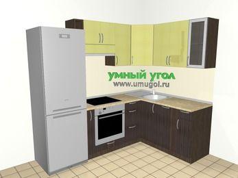 Кухни пластиковые угловые 5,7 м², 2300 на 1600 мм, Желтый Галлион глянец / Дерево Мокка: верхние модули 720 мм, холодильник, корзина-бутылочница, встроенный духовой шкаф, посудомоечная машина