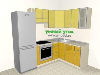 Кухни пластиковые угловые 5,7 м², 2300 на 1600 мм, Желтый Альтамир глянец / Желтый глянец: верхние модули 720 мм, холодильник, корзина-бутылочница, встроенный духовой шкаф, посудомоечная машина
