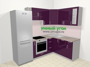 Угловая кухня МДФ глянец в современном стиле 5,7 м², 230 на 160 см, Баклажан: верхние модули 72 см, холодильник, корзина-бутылочница, встроенный духовой шкаф, посудомоечная машина
