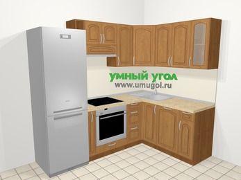 Угловая кухня МДФ патина в классическом стиле 5,7 м², 230 на 160 см, Ольха: верхние модули 72 см, холодильник, корзина-бутылочница, встроенный духовой шкаф, посудомоечная машина