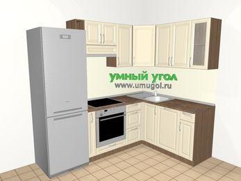 Угловая кухня из массива дерева 5,7 м², 2300 на 1600 мм, Бежевые оттенки: верхние модули 720 мм, холодильник, корзина-бутылочница, встроенный духовой шкаф, посудомоечная машина