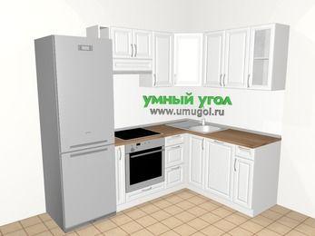 Угловая кухня из массива дерева 5,7 м², 2300 на 1600 мм, Белые оттенки: верхние модули 720 мм, холодильник, корзина-бутылочница, встроенный духовой шкаф, посудомоечная машина
