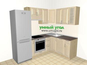 Угловая кухня из массива дерева 5,7 м², 2300 на 1600 мм, Светло-коричневые оттенки: верхние модули 720 мм, холодильник, корзина-бутылочница, встроенный духовой шкаф, посудомоечная машина