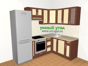 Угловая кухня из рамочного МДФ 5,7 м², 2300 на 1600 мм, Вишня темная / Крем: верхние модули 720 мм, холодильник, корзина-бутылочница, встроенный духовой шкаф, посудомоечная машина