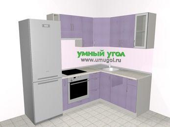 Кухни пластиковые угловые 5,7 м², 2300 на 1600 мм, Сиреневый глянец: верхние модули 720 мм, холодильник, корзина-бутылочница, встроенный духовой шкаф, посудомоечная машина