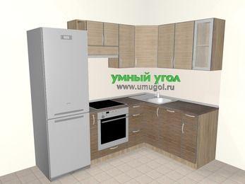 Кухни пластиковые угловые 5,7 м², 2300 на 1600 мм, Чибли бежевый / Мокрый зебрано: верхние модули 720 мм, холодильник, корзина-бутылочница, встроенный духовой шкаф, посудомоечная машина