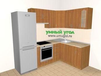 Угловая кухня МДФ матовый 5,7 м², 2300 на 1600 мм, Вишня: верхние модули 720 мм, холодильник, корзина-бутылочница, встроенный духовой шкаф, посудомоечная машина
