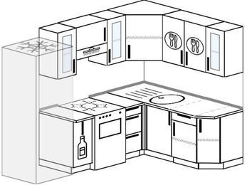 Угловая кухня 5,7 м² (2,3✕1,6 м), верхние модули 72 см, холодильник, отдельно стоящая плита