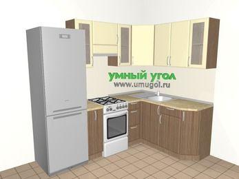 Угловая кухня МДФ матовый 5,7 м², 2300 на 1600 мм, Ваниль / Лиственница бронзовая, верхние модули 720 мм, холодильник, отдельно стоящая плита