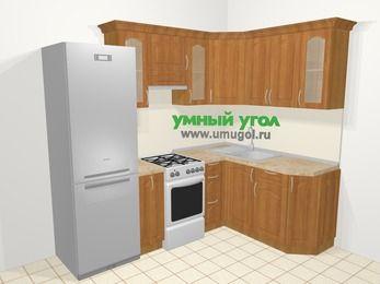 Угловая кухня МДФ матовый в классическом стиле 5,7 м², 230 на 160 см, Вишня, верхние модули 72 см, холодильник, отдельно стоящая плита