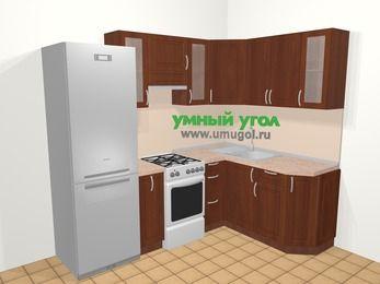 Угловая кухня МДФ матовый в классическом стиле 5,7 м², 230 на 160 см, Вишня темная, верхние модули 72 см, холодильник, отдельно стоящая плита