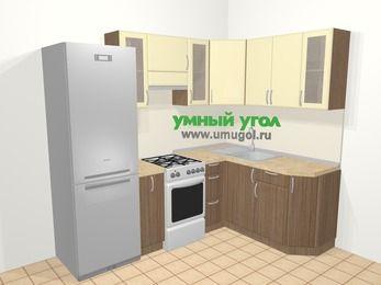 Угловая кухня МДФ матовый в современном стиле 5,7 м², 230 на 160 см, Ваниль / Лиственница бронзовая, верхние модули 72 см, холодильник, отдельно стоящая плита