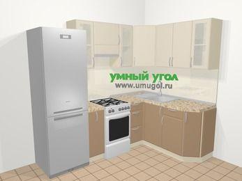 Угловая кухня МДФ матовый в современном стиле 5,7 м², 230 на 160 см, Керамик / Кофе, верхние модули 72 см, холодильник, отдельно стоящая плита