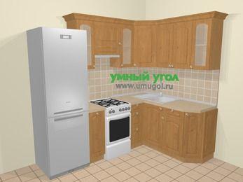 Угловая кухня МДФ матовый в стиле кантри 5,7 м², 230 на 160 см, Ольха, верхние модули 72 см, холодильник, отдельно стоящая плита