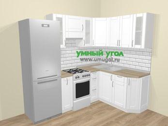 Угловая кухня МДФ матовый  в скандинавском стиле 5,7 м², 230 на 160 см, Белый, верхние модули 72 см, холодильник, отдельно стоящая плита
