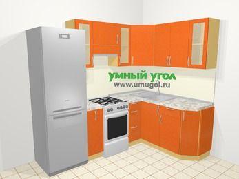 Угловая кухня МДФ металлик в современном стиле 5,7 м², 230 на 160 см, Оранжевый металлик, верхние модули 72 см, холодильник, отдельно стоящая плита
