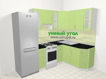 Угловая кухня МДФ металлик в современном стиле 5,7 м², 230 на 160 см, Салатовый металлик, верхние модули 72 см, холодильник, отдельно стоящая плита