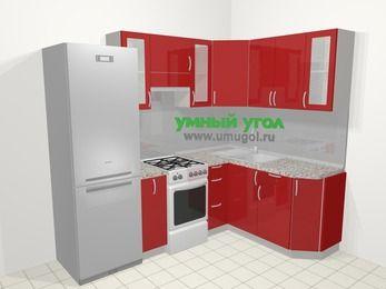 Угловая кухня МДФ глянец в современном стиле 5,7 м², 230 на 160 см, Красный, верхние модули 72 см, холодильник, отдельно стоящая плита
