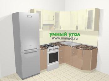 Угловая кухня МДФ глянец в современном стиле 5,7 м², 230 на 160 см, Жасмин / Капучино, верхние модули 72 см, холодильник, отдельно стоящая плита
