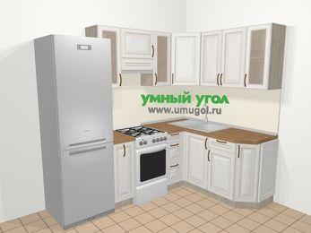 Угловая кухня МДФ патина в классическом стиле 5,7 м², 230 на 160 см, Лиственница белая, верхние модули 72 см, холодильник, отдельно стоящая плита