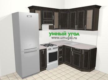 Угловая кухня МДФ патина в классическом стиле 5,7 м², 230 на 160 см, Венге, верхние модули 72 см, холодильник, отдельно стоящая плита