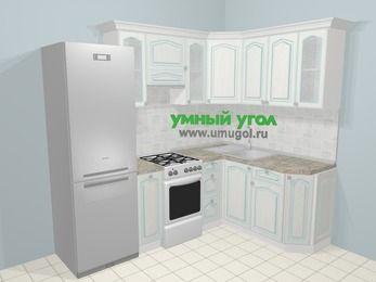 Угловая кухня МДФ патина в стиле прованс 5,7 м², 230 на 160 см, Лиственница белая, верхние модули 72 см, холодильник, отдельно стоящая плита