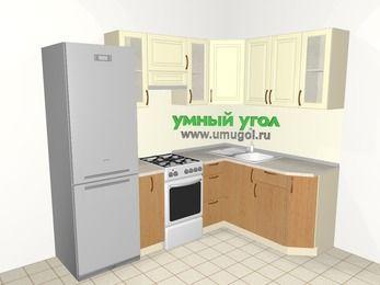 Угловая кухня из МДФ + ЛДСП 5,7 м², 2300 на 1600 мм, Ваниль / Ольха, верхние модули 720 мм, холодильник, отдельно стоящая плита