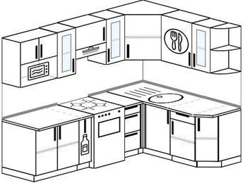 Планировка угловой кухни 5,7 м², 230 на 160 см: верхние модули 72 см, корзина-бутылочница, отдельно стоящая плита, модуль под свч