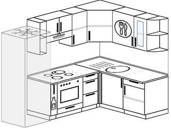 Угловая кухня 5,7 м² (2,3✕1,6 м), верхние модули 72 см, встроенный духовой шкаф, холодильник