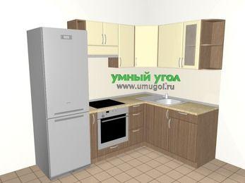 Угловая кухня МДФ матовый 5,7 м², 2300 на 1600 мм, Ваниль / Лиственница бронзовая, верхние модули 720 мм, встроенный духовой шкаф, холодильник