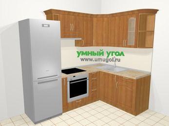 Угловая кухня МДФ матовый в классическом стиле 5,7 м², 230 на 160 см, Вишня, верхние модули 72 см, встроенный духовой шкаф, холодильник