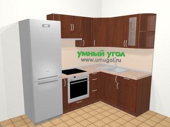 Угловая кухня МДФ матовый в классическом стиле 5,7 м², 230 на 160 см, Вишня темная, верхние модули 72 см, встроенный духовой шкаф, холодильник