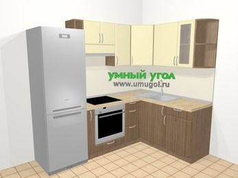 Угловая кухня МДФ матовый в современном стиле 5,7 м², 230 на 160 см, Ваниль / Лиственница бронзовая, верхние модули 72 см, встроенный духовой шкаф, холодильник