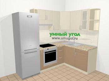 Угловая кухня МДФ матовый в современном стиле 5,7 м², 230 на 160 см, Керамик / Кофе, верхние модули 72 см, встроенный духовой шкаф, холодильник