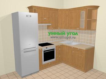 Угловая кухня МДФ матовый в стиле кантри 5,7 м², 230 на 160 см, Ольха, верхние модули 72 см, встроенный духовой шкаф, холодильник