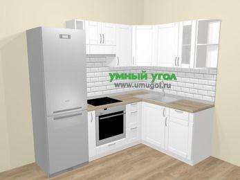 Угловая кухня МДФ матовый  в скандинавском стиле 5,7 м², 230 на 160 см, Белый, верхние модули 72 см, встроенный духовой шкаф, холодильник