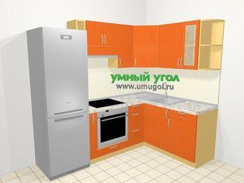 Угловая кухня МДФ металлик в современном стиле 5,7 м², 230 на 160 см, Оранжевый металлик, верхние модули 72 см, встроенный духовой шкаф, холодильник