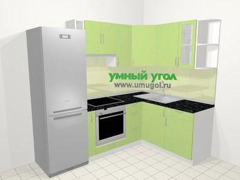 Угловая кухня МДФ металлик в современном стиле 5,7 м², 230 на 160 см, Салатовый металлик, верхние модули 72 см, встроенный духовой шкаф, холодильник