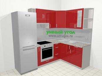 Угловая кухня МДФ глянец в современном стиле 5,7 м², 230 на 160 см, Красный, верхние модули 72 см, встроенный духовой шкаф, холодильник