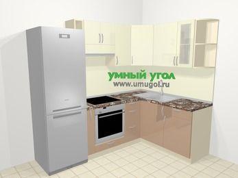 Угловая кухня МДФ глянец в современном стиле 5,7 м², 230 на 160 см, Жасмин / Капучино, верхние модули 72 см, встроенный духовой шкаф, холодильник
