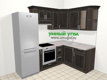 Угловая кухня МДФ патина в классическом стиле 5,7 м², 230 на 160 см, Венге, верхние модули 72 см, встроенный духовой шкаф, холодильник