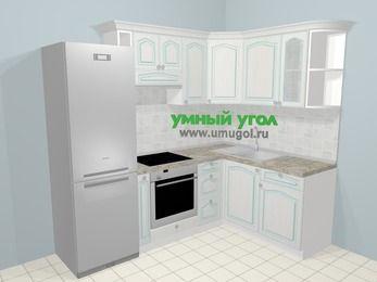 Угловая кухня МДФ патина в стиле прованс 5,7 м², 230 на 160 см, Лиственница белая, верхние модули 72 см, встроенный духовой шкаф, холодильник