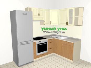 Угловая кухня из МДФ + ЛДСП 5,7 м², 2300 на 1600 мм, Ваниль / Ольха, верхние модули 720 мм, встроенный духовой шкаф, холодильник