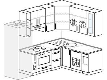 Угловая кухня 5,7 м² (2,3✕1,6 м), верхние модули 920 мм, посудомоечная машина, встроенный духовой шкаф, холодильник