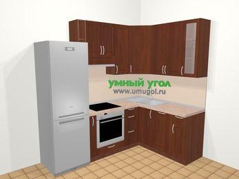 Угловая кухня МДФ матовый в классическом стиле 5,7 м², 230 на 160 см, Вишня темная, верхние модули 92 см, посудомоечная машина, встроенный духовой шкаф, холодильник