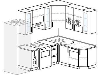Угловая кухня 5,7 м² (2,3✕1,6 м), верхние модули 92 см, холодильник, отдельно стоящая плита