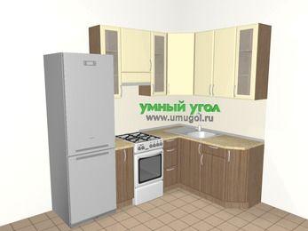 Угловая кухня МДФ матовый 5,7 м², 2300 на 1600 мм, Ваниль / Лиственница бронзовая, верхние модули 920 мм, холодильник, отдельно стоящая плита