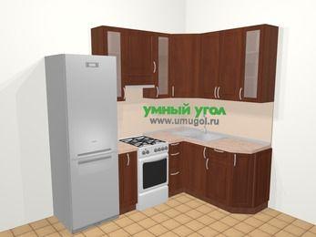 Угловая кухня МДФ матовый в классическом стиле 5,7 м², 230 на 160 см, Вишня темная, верхние модули 92 см, холодильник, отдельно стоящая плита
